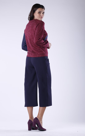 Two Tone Sweatshirt in Maroon & Navy by Bergamo