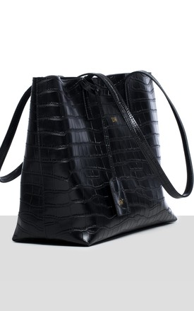 Stockholm Tote in Black Croc by Azurina
