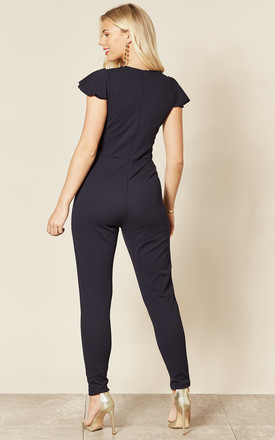 Kiara Cap Sleeve Jumpsuit in Navy by WalG