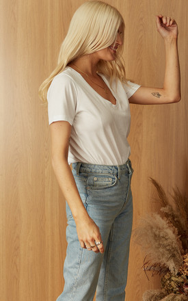 V Neck Cotton Tee in White by ONLY
