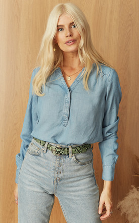 V Neck Denim Top In Light Blue by VM Product photo