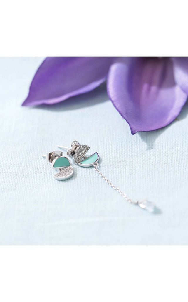 Turquoise Mismatched Silver Drop Earrings by With Bling