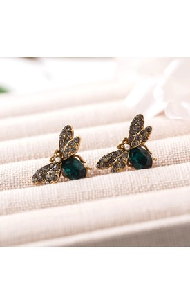 Green Swarovski Bee Stud Earrings by With Bling