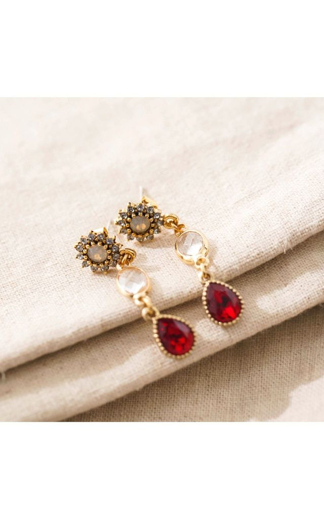 Red Swarovski Crystal Drop Earrings by With Bling