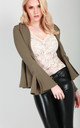 Terrie Frill Sleeve Open Front Blazer In Mocha by Oops Fashion