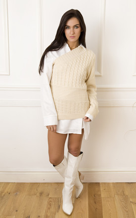 Lexi One Shoulder Cable knit Jumper in Neutral by Lavand Stories