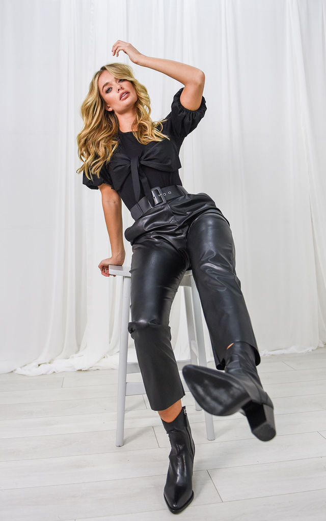 Ellie Belted Faux Leather Trousers in Black by Style Cheat