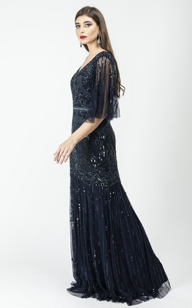 Bettina Occasion Maxi Dress With Three-Quarter Length Sleeves in Navy by Gatsbylady London