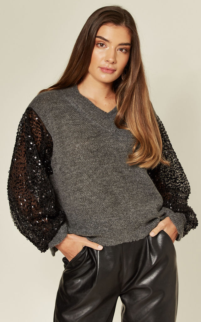 Noemie Jumper Knitted Sequins Sleeves Grey by Jovonna London