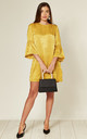 Yellow Satin Mini Dress with Ruffle Bell Sleeves by MISSTRUTH