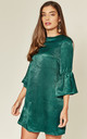 Green Satin Mini Dress with Ruffle Bell Sleeves by MISSTRUTH