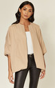 Charleen Oversized Collarless Jacket in Beige by Jovonna London