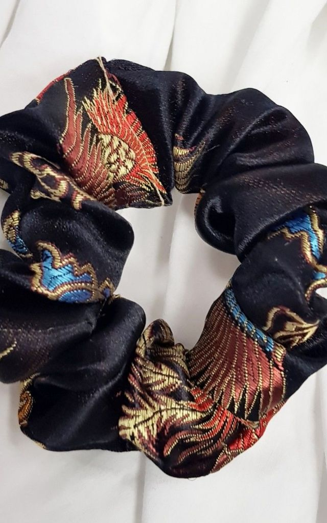 Black Dragon Print Scrunchie / Bracelet by GIGILAND