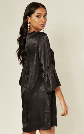 Black Satin Mini Dress with Ruffle Bell Sleeves by MISSTRUTH