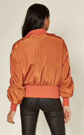 Rust Cropped Bomber Jacket by MISSTRUTH