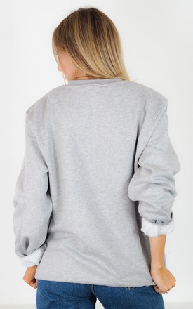 Grey Sweatshirt with Embroidered Love Slogan by Rock On Ruby