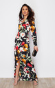 Letitia Split Wrap Maxi Dress Black Floral Print by Girl In Mind