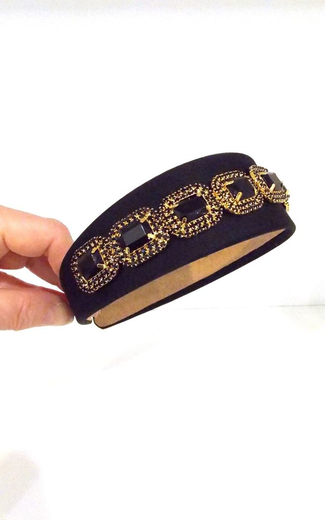 Handmade Jewelled Headband in Black by Olivia Divine Jewellery