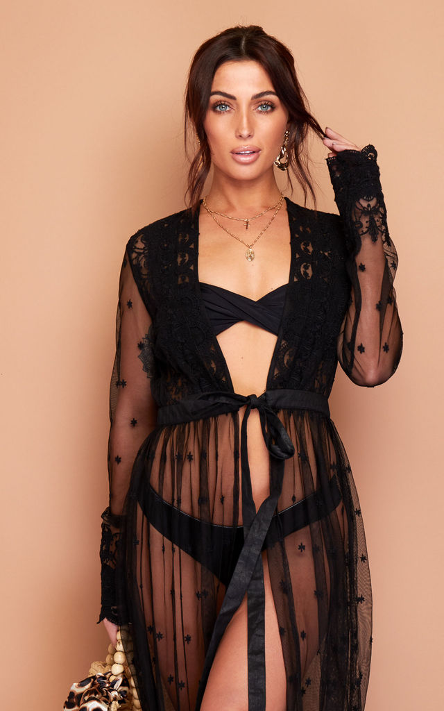 Athena Lace Kimono In Black by Wired Angel