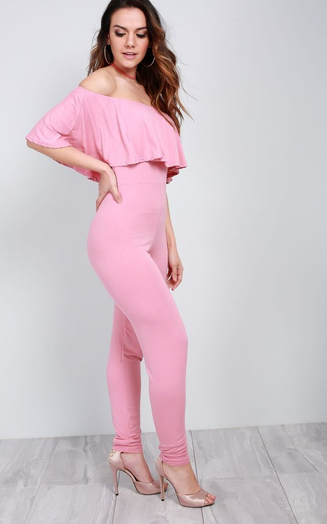 Faye Bardot Frill Slim Leg Jumpsuit In Rose by Oops Fashion