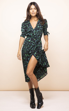 Olivera Midi Dress In Green Alligator by Dancing Leopard Product photo