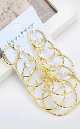 Pack Of Six Gold Hoop Earrings by GIGILAND Product photo