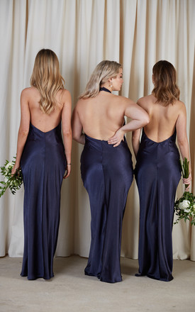 BRIDESMAIDS Raleigh Halterneck Maxi Dress - Matte Navy by Pretty Lavish