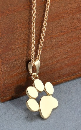 Gold Chain Necklace With Paw Print Pendant by GIGILAND Product photo