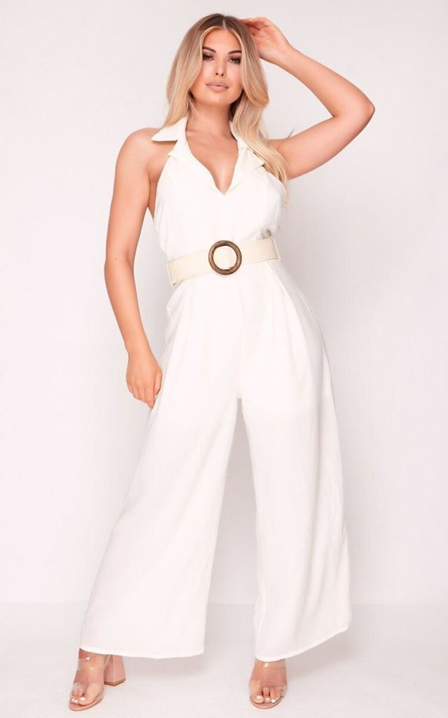 White Flare Leg Jumpsuit with Belt by Hachu