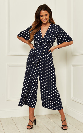 Exclusive Kimono Knot Top Culotte Jumpsuit In Navy Polka Dot by Bella and Blue Product photo