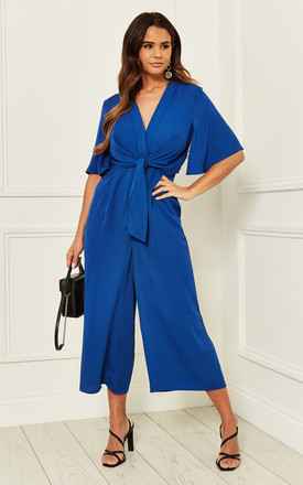 Exclusive Kimono Knot Top Culotte Jumpsuit In Cobalt Blue by Bella and Blue Product photo
