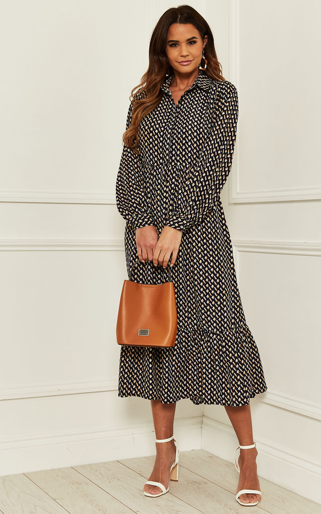 Midi Shirt Dress With Tiered Hem in Navy Patterned Print by Bella and Blue