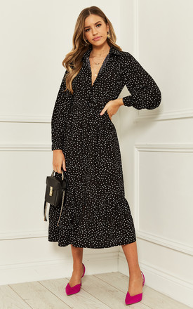 Midi Shirt Dress With Tiered Hem In Black Polka Dot by Bella and Blue Product photo
