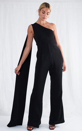 Jaden One Shoulder Jumpsuit - Black by Pretty Lavish