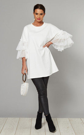 SORAYA Frill Tulle Short Sleeve Top In White by Blue Vanilla