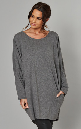 Margaret Oversized Long Sleeve Top In Grey by Blue Vanilla Product photo