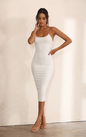 Chain Ribbed Bodycon Midi Dress In White by Miss Floral Product photo