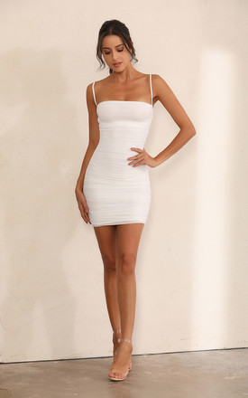 Ruched Mesh Bodycon Mini Dress In White by Miss Floral Product photo