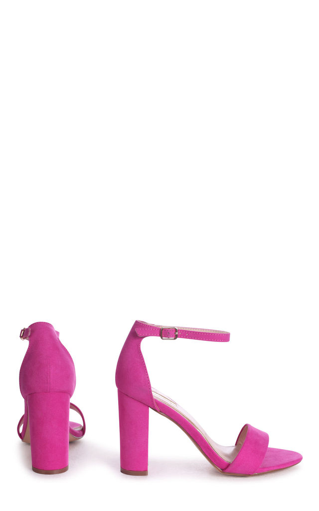 Nelly Barely There Block Heels in Fuchsia Suede by Linzi
