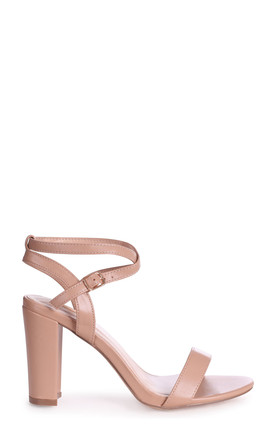 True Love Mocha Block Heeled Sandals With Crossover Ankle Strap by Linzi