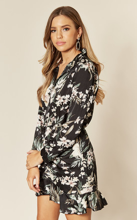 Shirt Dress with Frill in Black Tropical Print by AX Paris