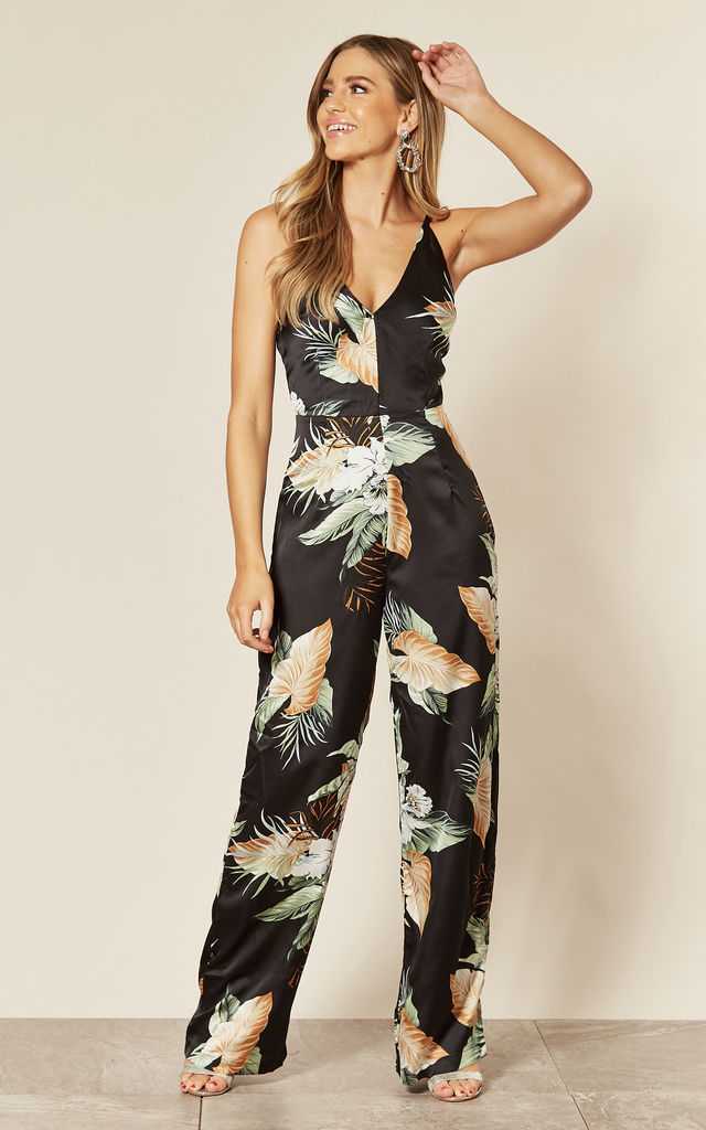 V-Neck Strappy Satin Jumpsuit in Black Floral Print by AX Paris