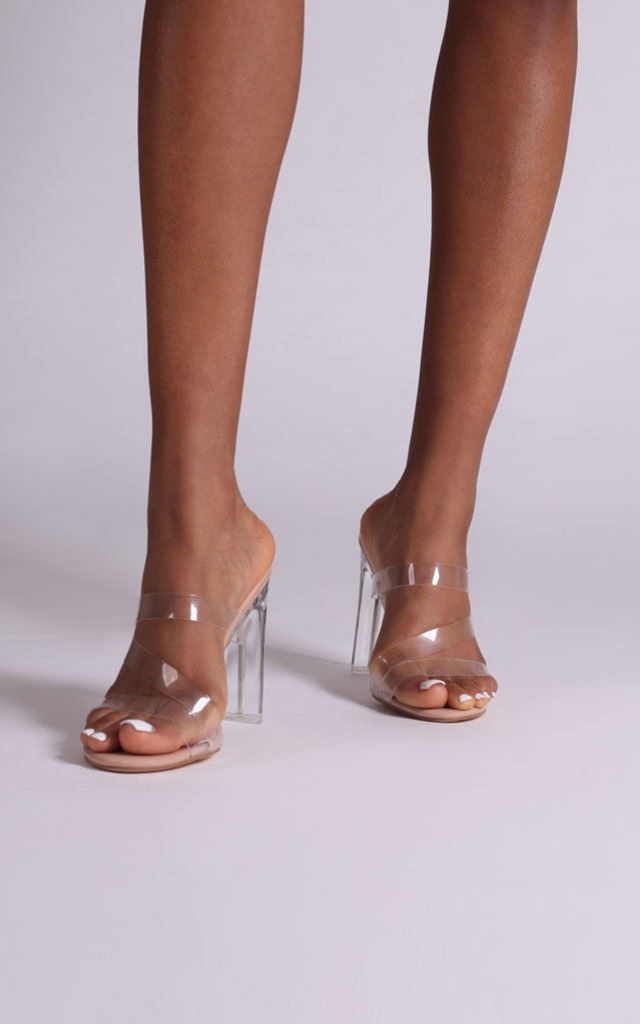So Proud Nude Strap Perspex Mules by Linzi