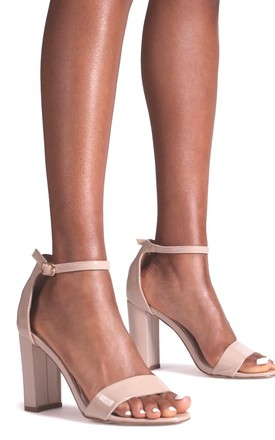 Daze Nude Patent Barely There Block High Heel by Linzi