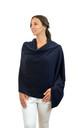 Navy 100% Pure Cashmere Travel Wrap Oversized Scarf by Mimi & Thomas® cashmere & leather