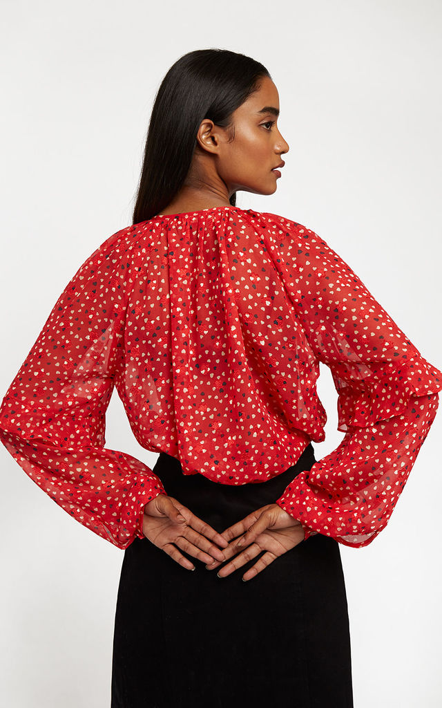 Alba Cupid Long Sleeve Blouse in Red Heart Print by Louche