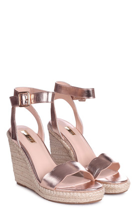 Mars Rose Gold Rope Platform Wedges With Wavey Front Strap by Linzi