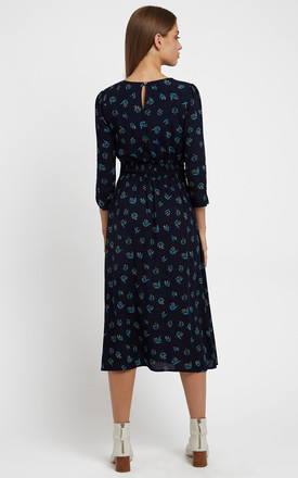 Birte Maybells 3/4 Sleeve Midi Dress in Navy Floral Print by Louche