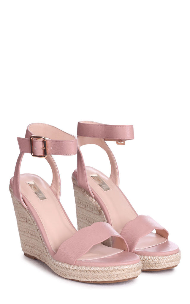 Mars Dusky Pink Rope Platform Wedges With Wavey Front Strap by Linzi