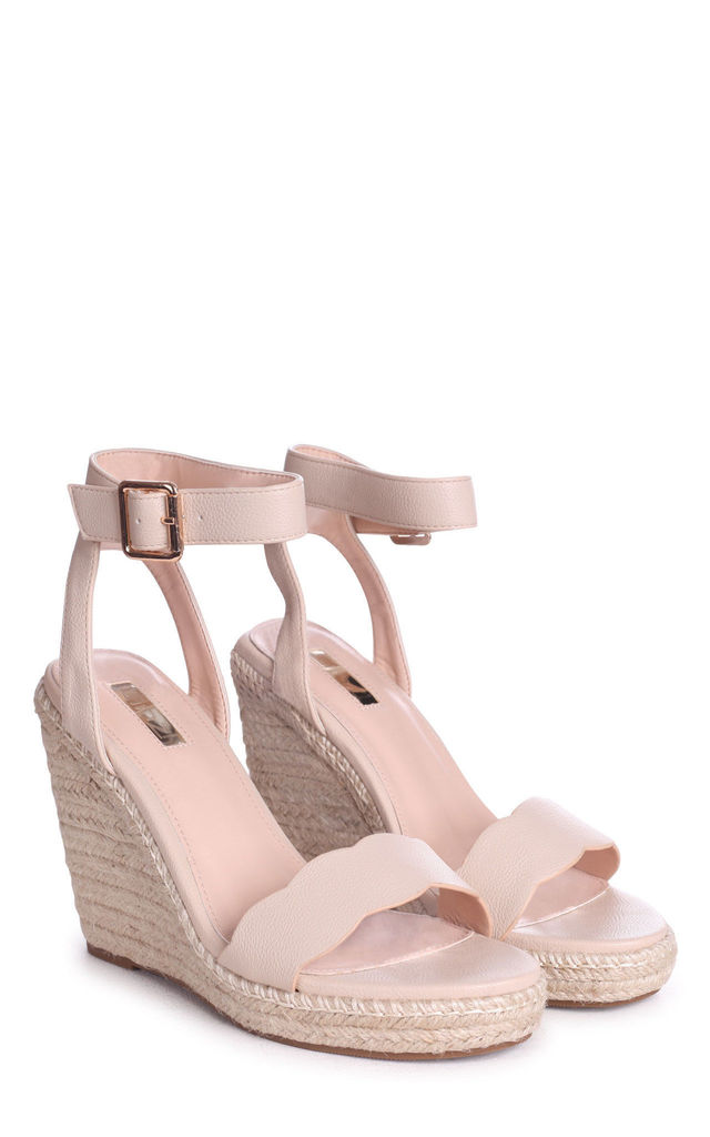Mars Beige Nappa Rope Platform Wedge With Wavey Front Strap by Linzi